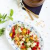 Salat Tomaten Pfirsich Ziegenkäse & Kräuter