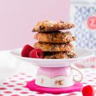 Haferflocken Cookies mit Weißer Schokolade & Himbeeren