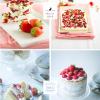 Frozen Yogurt Tafeln mit getrockneten Erdbeeren & Granatapfel