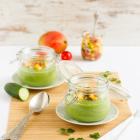Kalte Gurken Avocado Suppe mit Mango Salsa