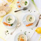 Kalte Frühlingszwiebel Joghurt Suppe mit Zitrone & Flußkrebsen