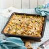 Lauch Kuchen vom Blech mit Speck & Käse