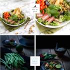 Salat mit Bohnen im Speckmantel & gebratener Birne