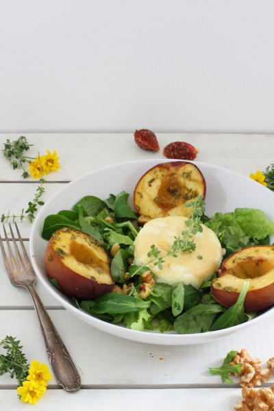 haseimglueck.de Rezept, Salat-Pfirsiche-Ziegenkäse 6
