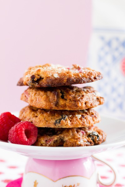 haseimglueck.de Rezept, Haferflocken-Cookies mit Himbeeren + Weißer Schokolade 2