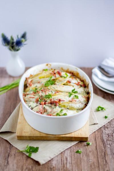 haseimglueck.de Rezept, Chicoree-Kartoffel-Schinken-Auflauf 1