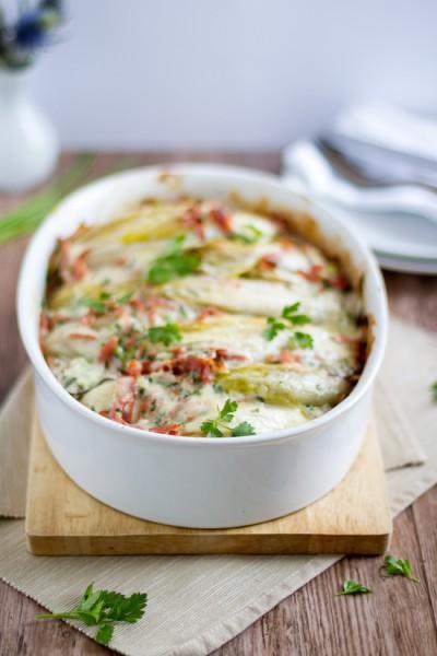 haseimglueck.de Rezept, Chicoree-Kartoffel-Schinken-Auflauf 2