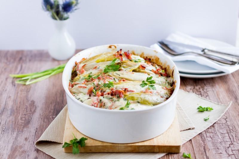 haseimglueck.de Rezept, Chicoree-Kartoffel-Schinken-Auflauf 4
