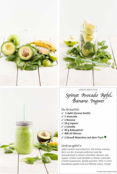 haseimglueck.de Rezept, Green Smoothie Avocado Spinat Apfel 1a
