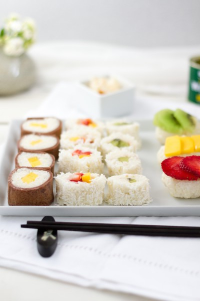 haseimglueck.de Rezept, Süße Sushi Platte 4