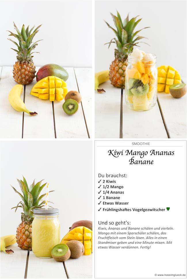 SMOOTHIE Kiwi Mango Ananas Banane  Hase im Glck