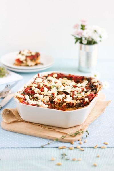 haseimglueck.de Rezept, Spinat Tomaten Feta Lasagne 1