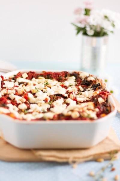 haseimglueck.de Rezept, Spinat Tomaten Feta Lasagne 3