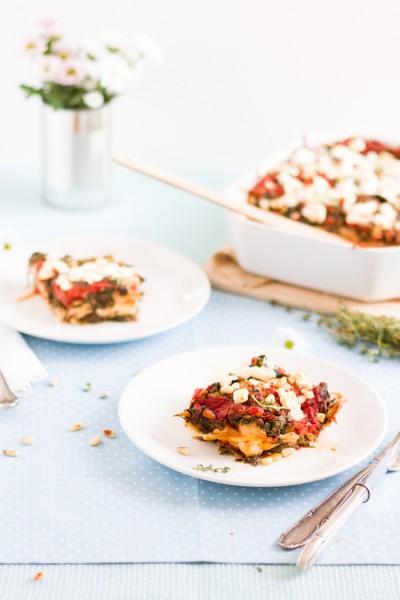 haseimglueck.de Rezept, Spinat Tomaten Feta Lasagne 5