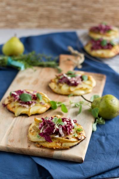 haseimglueck.de Rezept, Mini Pizza mit Birnen & Gorgonzola 1