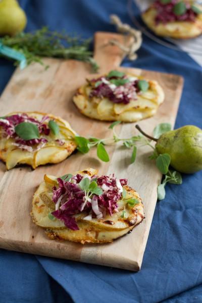 haseimglueck.de Rezept, Mini Pizza mit Birnen & Gorgonzola 4