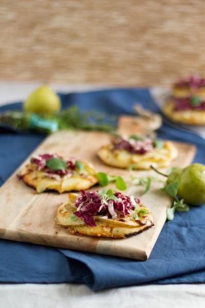 haseimglueck.de Rezept, Mini Pizza mit Birnen & Gorgonzola 9