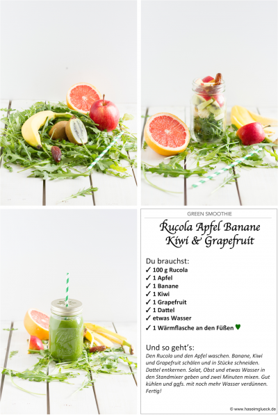 Green Smoothie Rucola Apfel Banane Kiwi Grapefruit  I  Green Smoothie Rucola Apple Banana Kiwi Grapefruit I haseimglueck.de