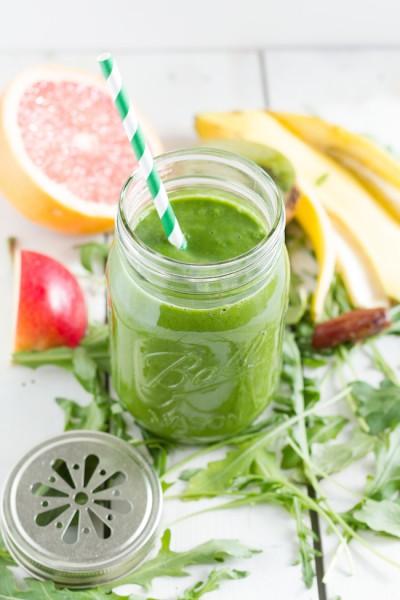 Green Smoothie Rucola Apfel Banane Kiwi Grapefruit  I  Green Smoothie Rucola Apple Banana Kiwi Grapefruit I haseimglueck.de
