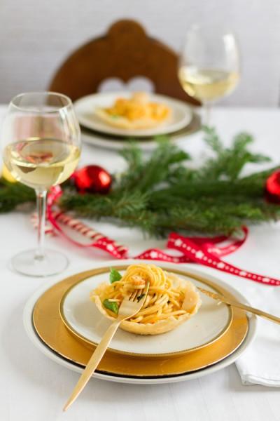 Flußkrebs Spaghetti im Parmesan Körbchen I Crawfish Spaghetti in Parmesan Basket I haseimglueck.de