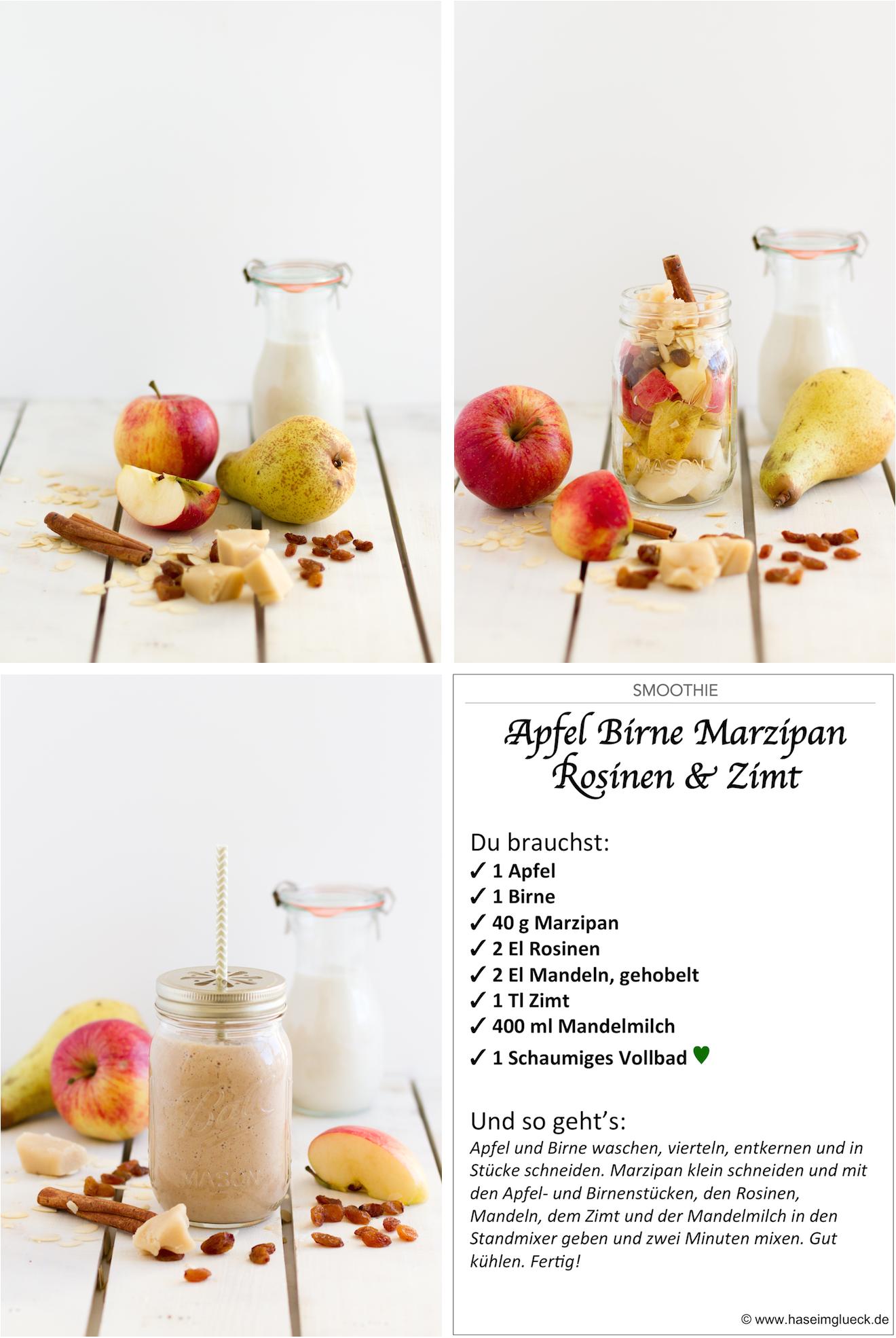 SMOOTHIE: Apfel, Birne, Marzipan & Zimt | Hase im Glück