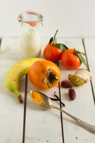 Kaki, Mandarine, Banane, Ingwer, Kurkuma I Smoothie Persimmon, Tangerine, Banana, Ginger, Turmeric I haseimglueck.de