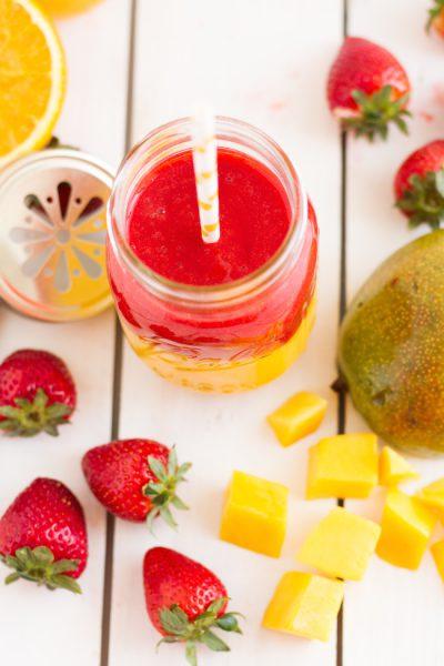 Smoothie Gefrorene Mango, Erdbeeren & Orange I Smoothie Frozen Mango, Strawberries & Orange I haseimglueck.de