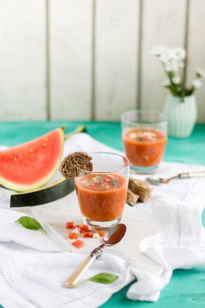Wassermelonen Gazpacho mit Feta I Watermelon Gazpacho with Feta Cheese