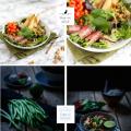 Salat mit Bohnen im Speckmantel & gebratener Birne I Salad with bacon covered beans & fried peach