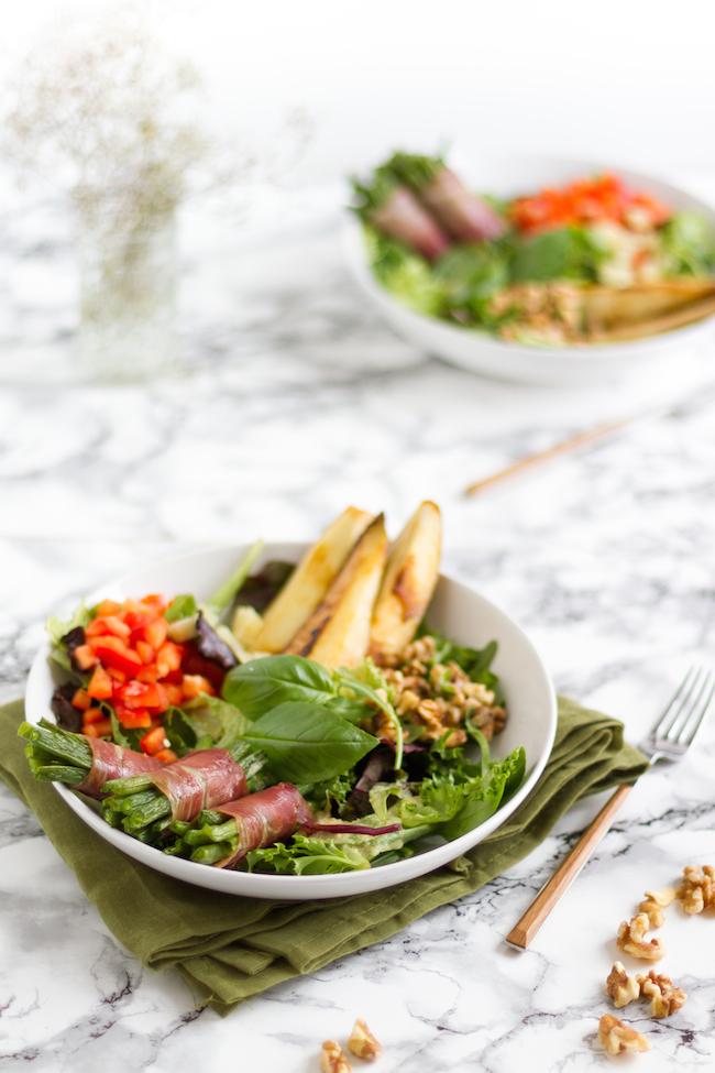 Salat Mit Bohnen Im Speckmantel Gebratener Birne Hase Im Glück