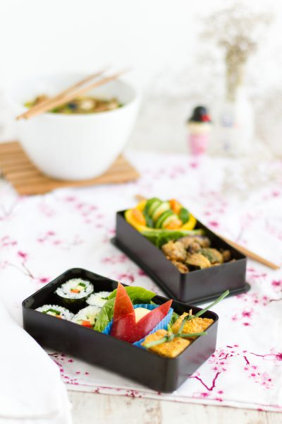 Miso Soup + Udon Noodles, Hoso Maki Sushi & colourful Bento-Box