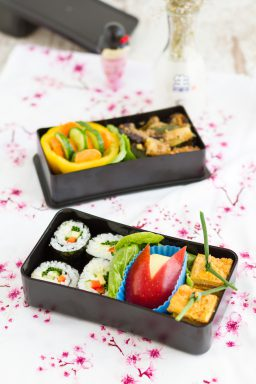 Bento Box with Miso glazed Vegetables, Hoso Maki Sushi, Japanese Style inspired Omelette & Apple Rabbit