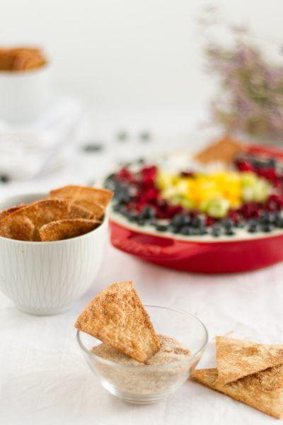 Käsekuchen Dip mit süßen Tacos & Früchten I Cheesecake Dip with sweet Tacos & Fruit