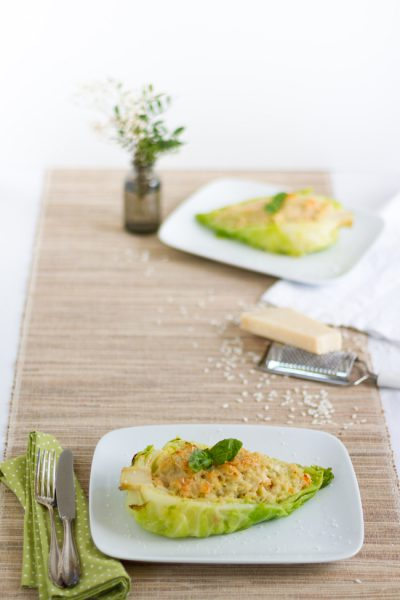 Gefüllter Spitzkohl mit Garnelen Risotto | Filled Sweetheart Cabbage with Prawn Risotto