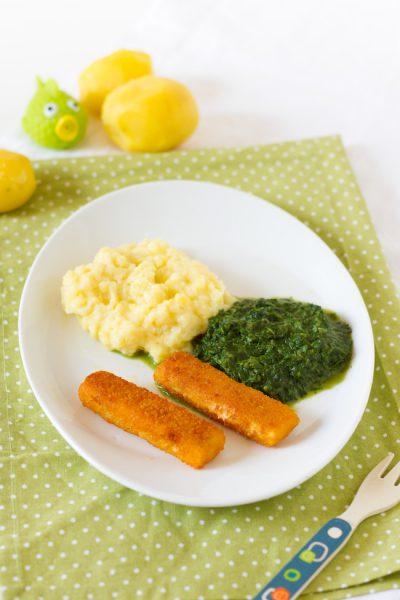Fischstäbchen, Kartoffelpüree & Spinat I Fish Fingers, Mashed Poatoes & Spinach